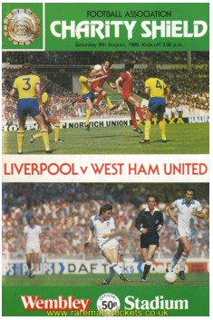 1980 charity shield LIVERPOOL 1 WEST HAM UTD 0