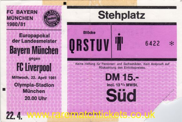 1980-81 ec sf 2nd BAYERN MUNICH 1 LIVERPOOL 1