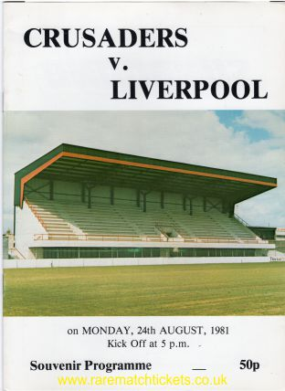 1981-08-24 CRUSADERS 0 LIVERPOOL 5