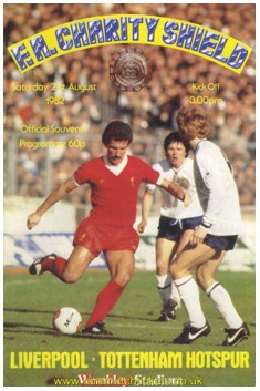 1982 charity shield LIVERPOOL 1 TOTTENHAM HOTSPUR 0