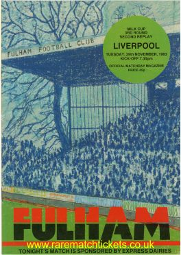 1983-84 lc r3 rep2 FULHAM 0 LIVERPOOL 1