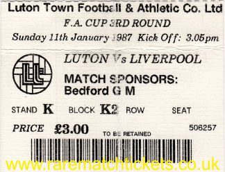 1986-87 fac3 LUTON TOWN 0 LIVERPOOL 0 - Click Image to Close