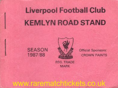 1987-88 div1 champions LIVERPOOL season ticket front cover