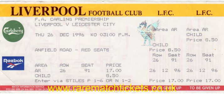1996-97 EPL LIVERPOOL 1 LEICESTER CITY 1 (unused)