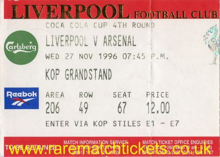 1996-97 LC R4 LIVERPOOL 4 ARSENAL 2
