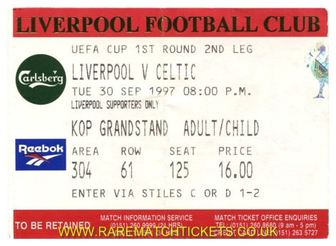 1997-98 uefa r1 2nd LIVERPOOL 0 CELTIC 0 [kop]