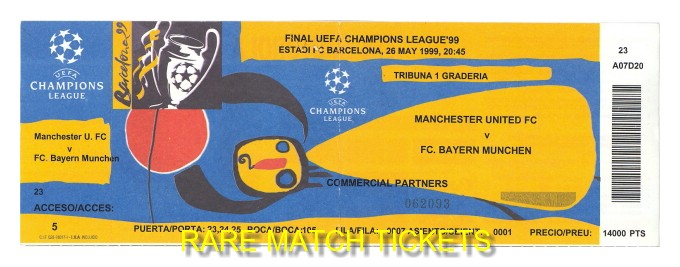 1999 cl final MANCHESTER UTD 2 BAYERN MUNICH 1 (unused)