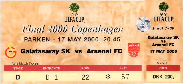 2000 uefa final GALATASARAY 0 ARSENAL 0 (unused)