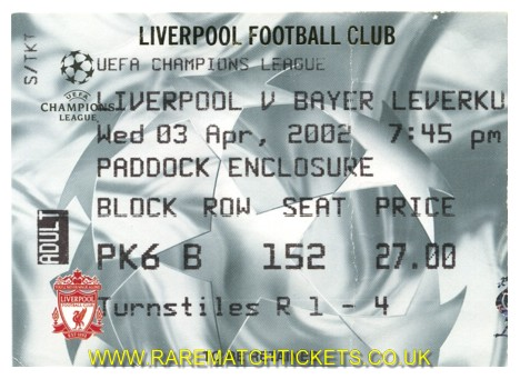 2001-02 CL QF1 LIVERPOOL 1 BAYER LEVERKUSEN 0 [pad]