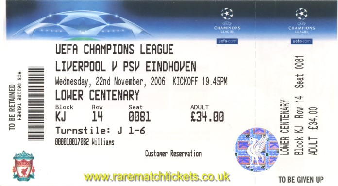 2006-07 CL GrC M5 LIVERPOOL 2 PSV 0 (unused) [lc]