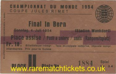 1954 wc final WEST GERMANY 3 HUNGARY 2